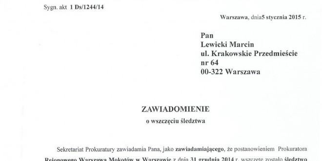 Śledztwo w sprawie przekroczenia uprawnień przez policjantów wobec dziennikarzy