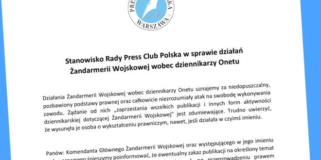 Stanowisko Rady Press Club Polska w sprawie działań Żandarmerii Wojskowej wobec dziennikarzy Onetu