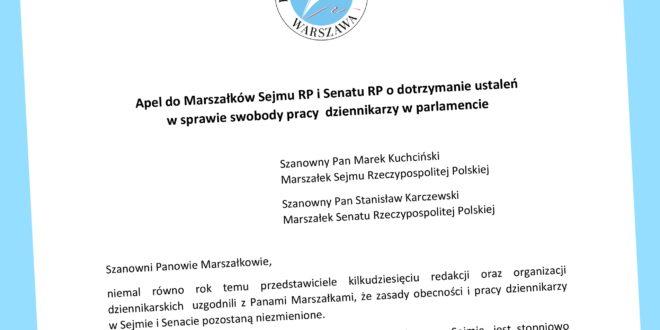 Apel do Marszałków Sejmu RP i Senatu RP o dotrzymanie ustaleń  w sprawie swobody pracy  dziennikarzy w parlamencie