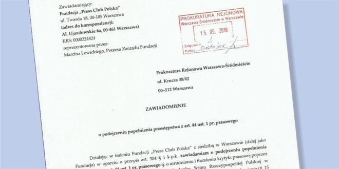 Press Club Polska zawiadomił prokuraturę w sprawie wstrzymania wydawania jednorazowych dziennikarskich kart wstępu do parlamentu